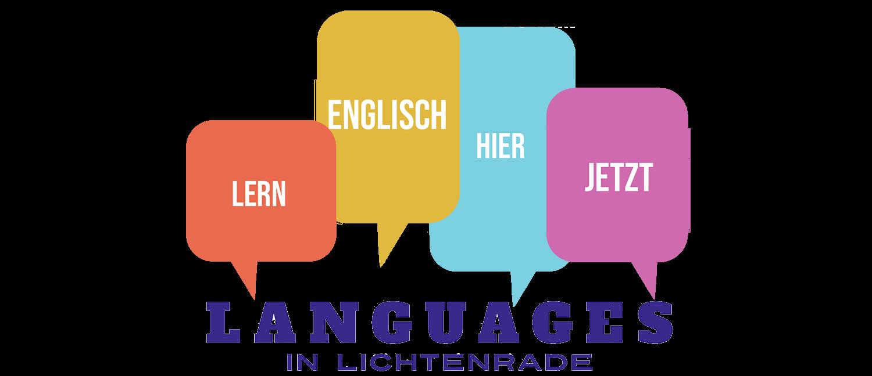 Logo mit Sprechblasen Lern Englisch Hier Jetzt